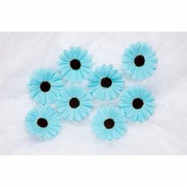 Kinderkamer deco bloemetjes aqua blauw voor klamboes 12 stuks