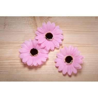 Kinderkamer deco bloemetjes roze voor klamboes 12 stuks